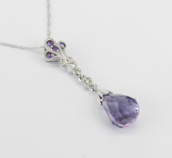 "14k White Gold Diamond and Amethyst Briolette Necklace Purple Pendant 18"" Chain February Birthday"