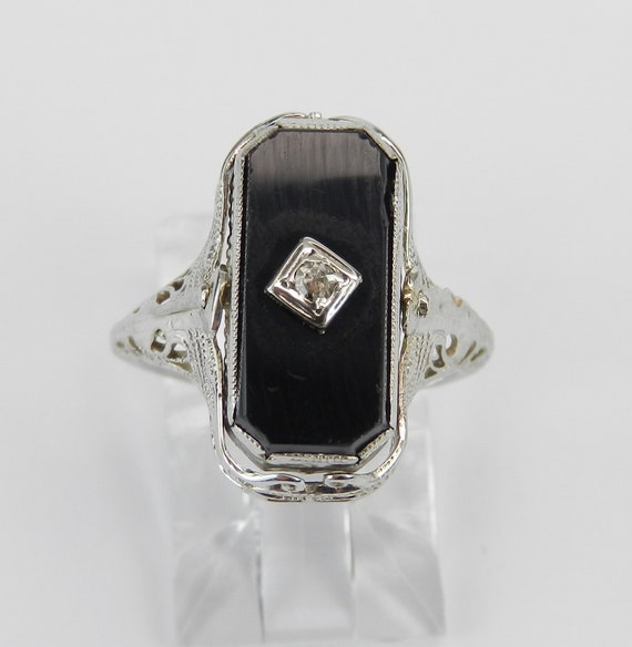 Antique Art Deco Blue Lab Corundum Onyx Diamond REVERSIBLE Ring 14K White Gold