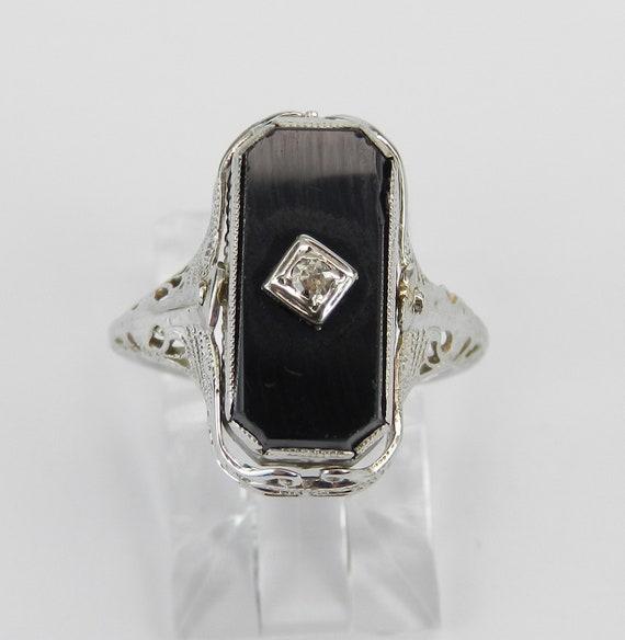 Antique Art Deco Blue Lab Corundum Onyx Diamond REVERSIBLE Ring 14K White Gold