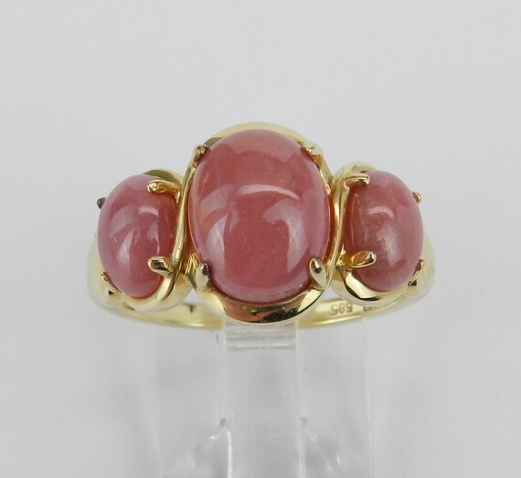 14K Yellow Gold Rhodochrosite Right Hand Three Stone Ring Size 8