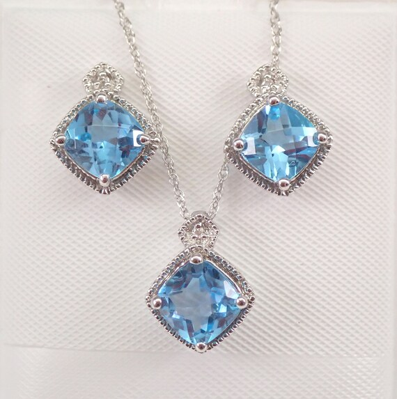 "White Gold Diamond and Blue Topaz Pendant Necklace Earrings Set 18"" Chain December Birthstone"