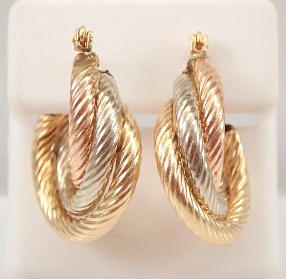 Estate Vintage 14K Yellow Rose White Gold TRI COLOR Hoop Earrings Hoops