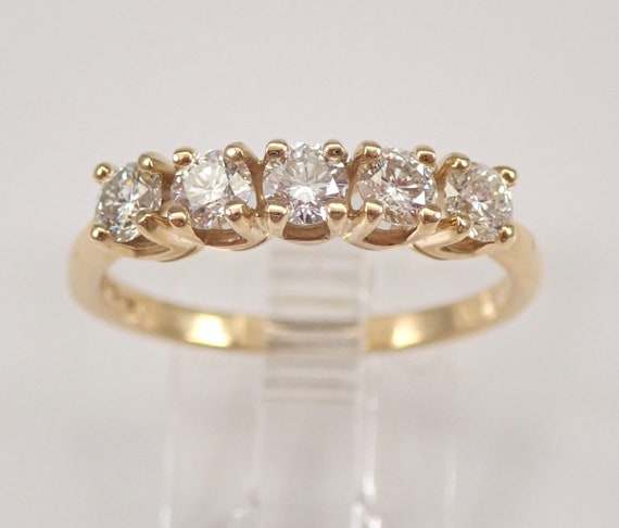 Diamond Wedding Ring Anniversary Band 14K Yellow Gold Stackable 5 Stone Size 8