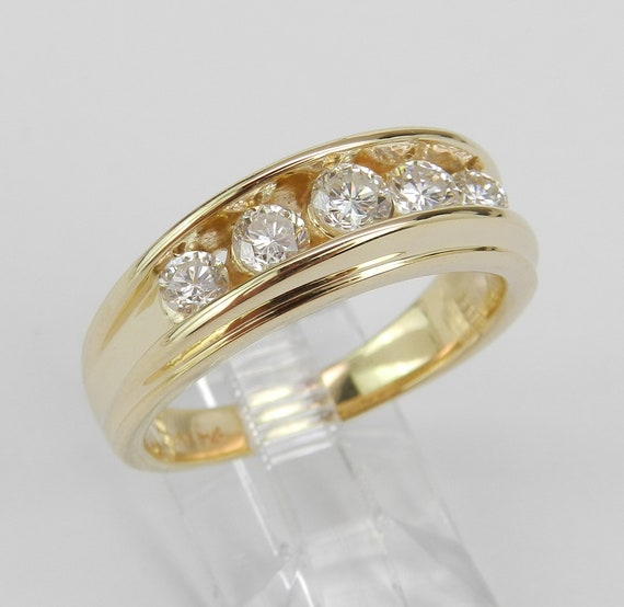 Mens 14K Yellow Gold 1.00 ct Diamond Wedding Ring Anniversary Band Size 9.5