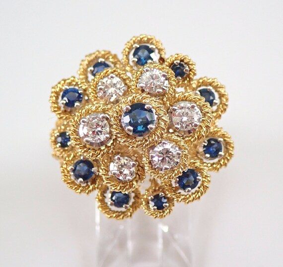 Vintage Estate Diamond and Sapphire Cocktail Cluster Ring 18K Yellow Gold Size 8