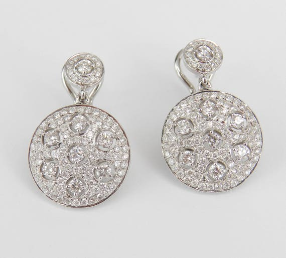18K White Gold 2.45 ct Diamond Cluster Drop Halo Earrings Omega Clasp