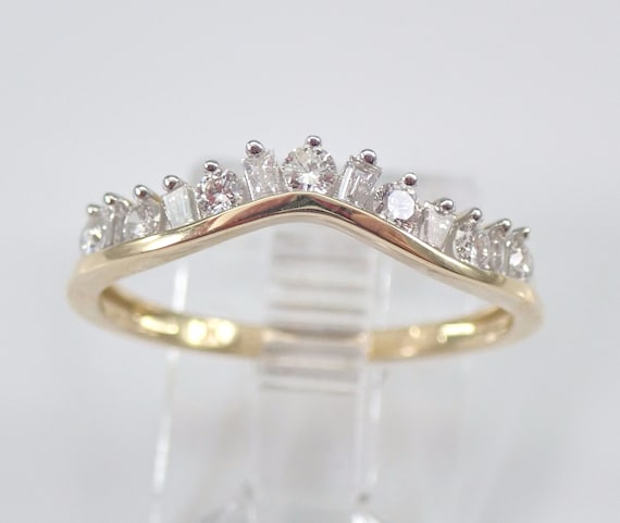 Diamond Wedding Ring Contour Anniversary Band Guard Yellow Gold Size 7 FREE Sizing