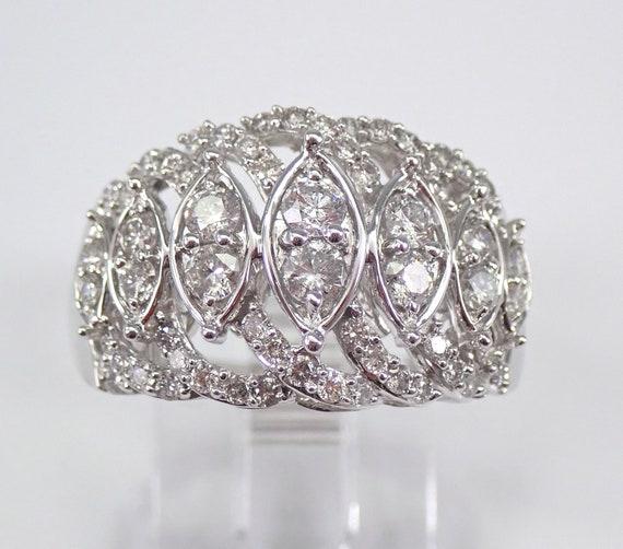 White Gold 1.00 ct Diamond Anniversary Ring Cluster Wedding Band Size 7 FREE Sizing
