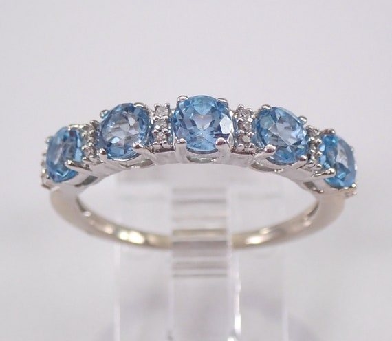 White Gold Diamond and Blue Topaz Wedding Ring Anniversary Band Size 8 December Gemstone FREE Sizing