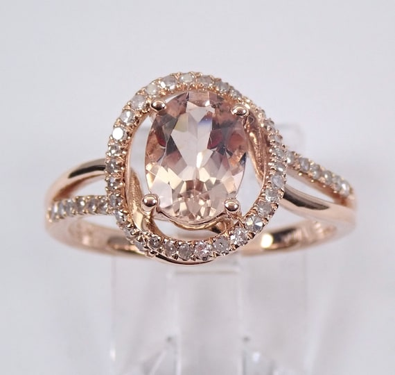 Morganite and Diamond Unique Halo Engagement Ring Rose Pink Gold Size 7
