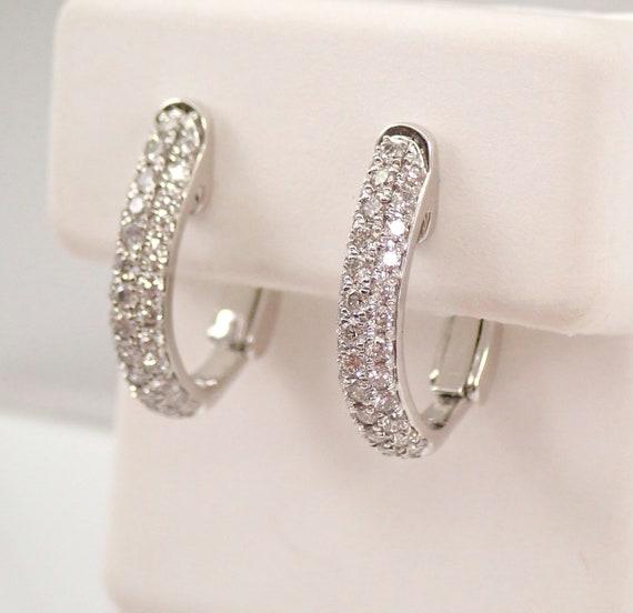 Pave Set Diamond Hoop Earrings Diamond Hoops White Gold Omega Clasps