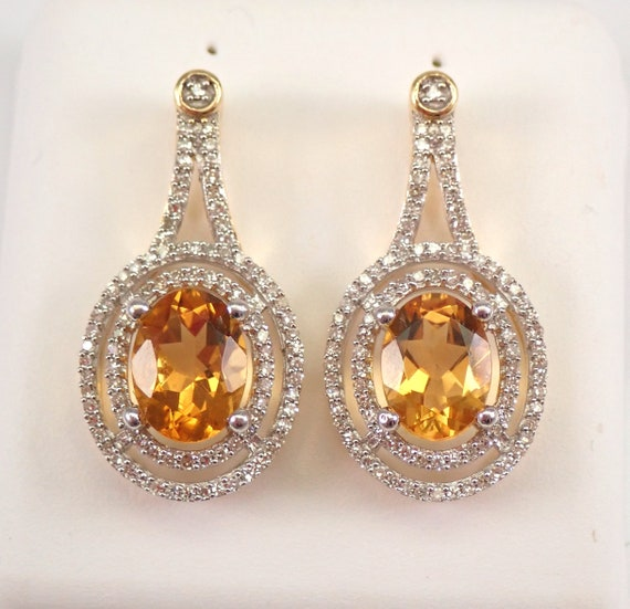 2.96 ct Citrine and Diamond Halo Earrings 14K Yellow Gold November Birthstone