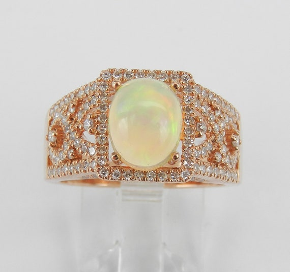 14K Rose Gold Opal and Diamond Engagement Ring Size 7 October Gemstone FREE Sizing