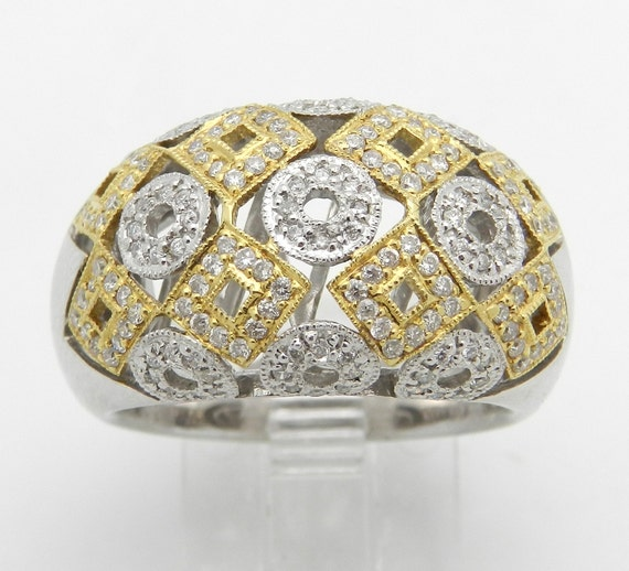 Diamond Cluster Ring, Two Tone Ring, 14K White Gold Geometric Diamond Ring, Yellow Gold Band, Size 7 .58ct Ring FREE Sizing
