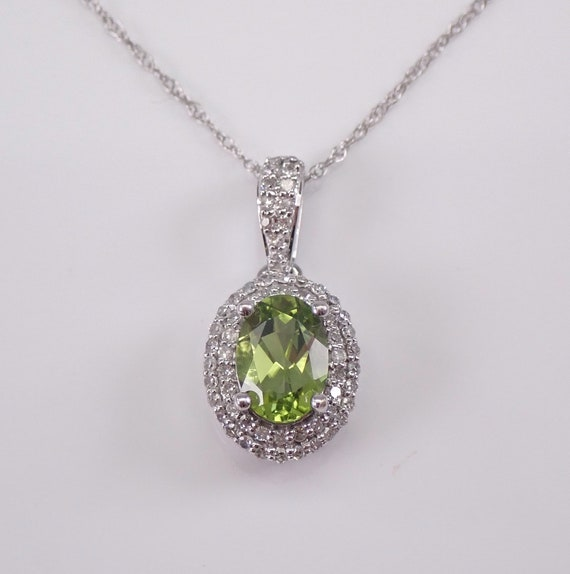 "Diamond and Peridot Halo Pendant 14K White Gold Necklace 18"" Chain August Gem"