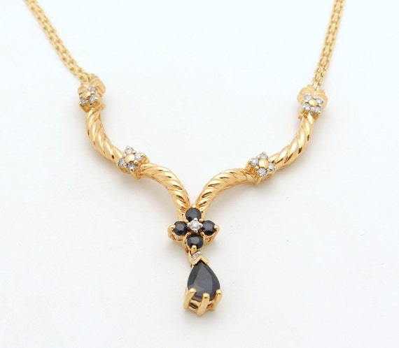 """Diamond and Sapphire Necklace, Sapphire Lariat, Sapphire Pear Drop Pendant, 14K Yellow Gold Necklace, 19"""" Chain"""