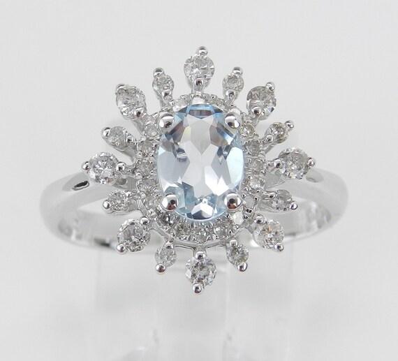 Diamond and Aquamarine Halo Engagement Ring 14K White Gold Size 7 March Birthday FREE Sizing