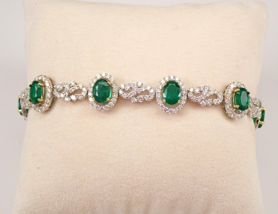 "18K White Gold 12.57 ct Emerald and Diamond Halo Tennis Bracelet 7"" May Birthday"