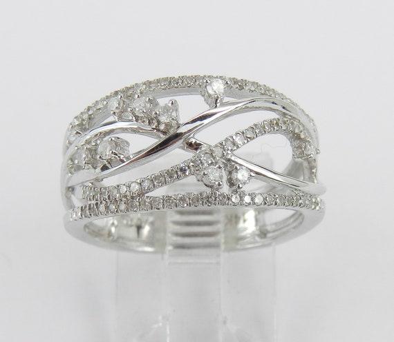14K White Gold Diamond Crossover Ring Multi Row Anniversary Band Size 7 Negative Space Design