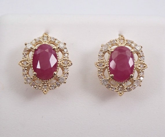 Ruby and Diamond Stud Earrings Halo Studs 14K Yellow Gold July Birthstone 1.25 ct