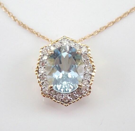 "Aquamarine and Diamond Halo Necklace Yellow Gold 18"" Chain Aqua Pendant March Gemstone"