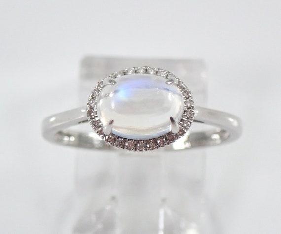 14K White Gold Diamond and Moonstone Halo Sideways Engagement Ring Size 7 FREE Sizing