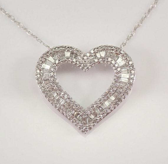 "White Gold 1/2 ct Diamond Pendant Open Heart Necklace 18"" Chain Wedding Gift"