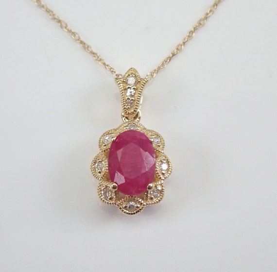 """Diamond and Ruby Halo Pendant Necklace Yellow Gold 18"""" Chain July Birthstone"""