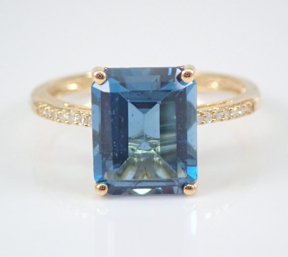 3.12 ct London Blue Topaz and Diamond Engagement Ring Emerald-Cut Solitaire Yellow Gold Size 7