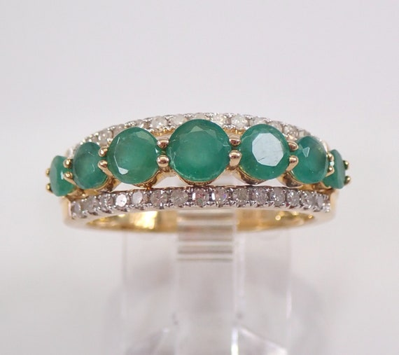 Diamond and Emerald Anniversary Band Wedding Ring 14K Yellow Gold Size 6.75 May Birthstone FREE Sizing