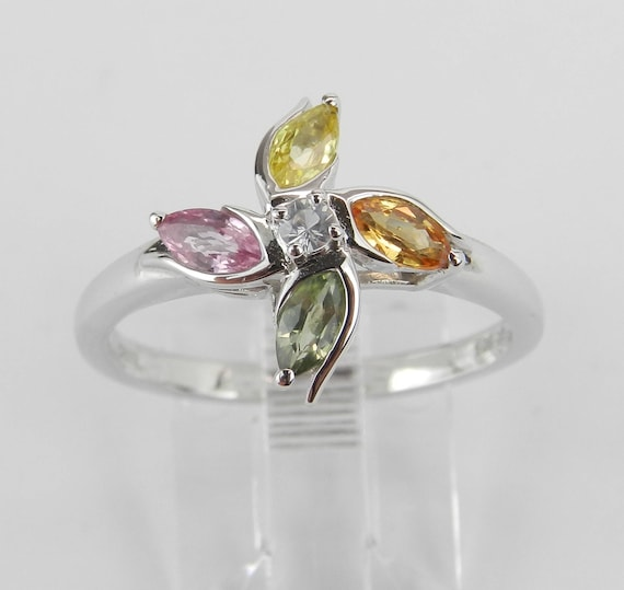 White Gold Multi Color Sapphire Flower Cluster Cocktail Ring Size 8 Pink Green Yellow Orange