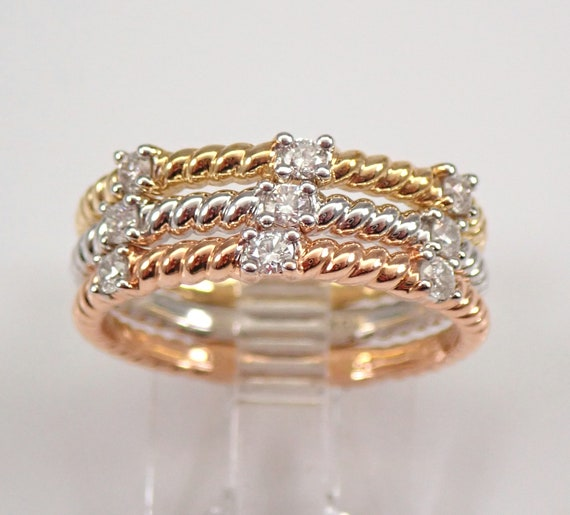 White Yellow Rose Gold Diamond Wedding Ring Anniversary Band Stackable Set Size 7