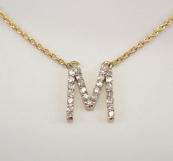 """RESERVED 14K Yellow Gold Diamond INITIAL M Pendant 18"""" Necklace Chain Personalized Gift"""