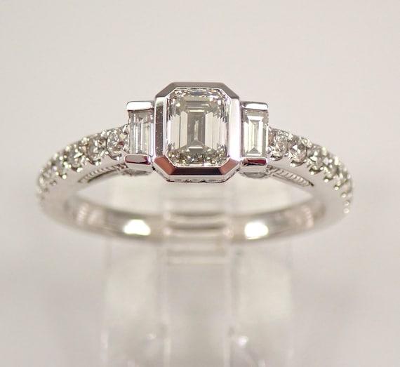 14K White Gold 1.00 ct Emerald Cut Diamond Engagement Ring Size 7 G VS1 FREE SIZING