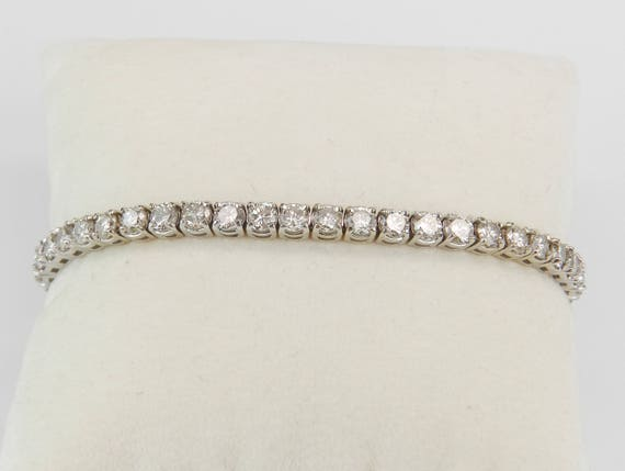 14K White Gold 8.62 ct Diamond Tennis Bracelet Traditional Prong Set