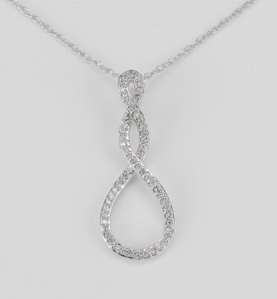 SALE Diamond Drop Pendant 14K White Gold Wedding Gift Necklace with Chain 18""