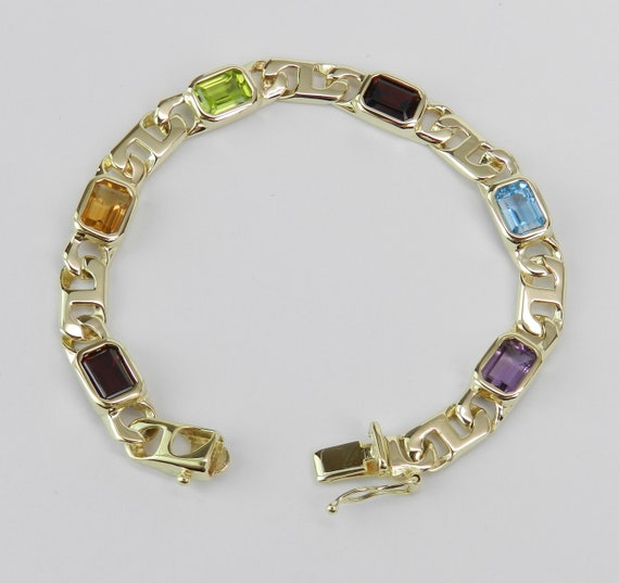 14K Yellow Gold Multi Color Gemstone Bracelet Emerald Cut Amethyst Topaz Peridot Garnet Citrine