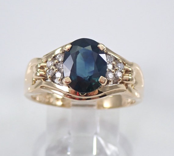 14K Yellow Gold Diamond and Sapphire Engagement Ring Size 8.5 September Gemstone FREE Sizing