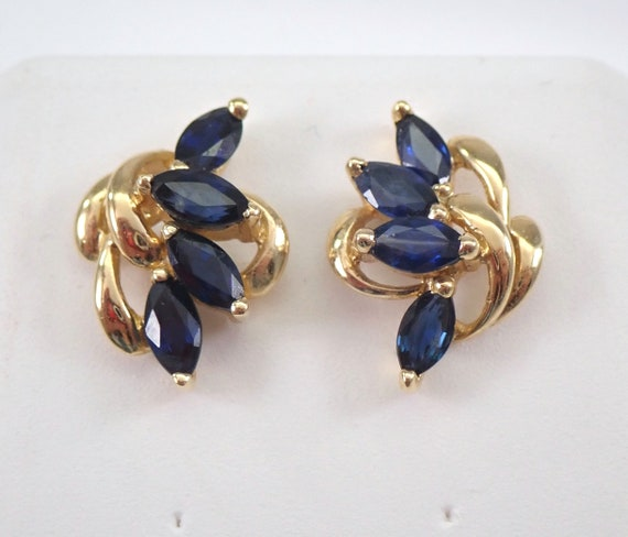 Vintage Sapphire Cluster Stud Earrings Birthstone Studs 14K Yellow Gold