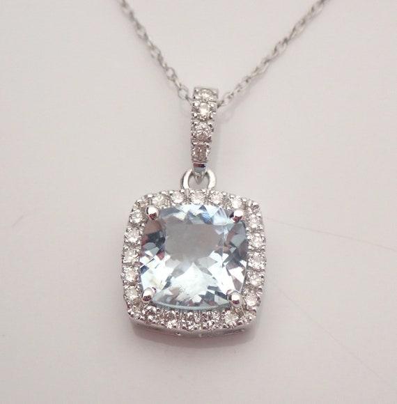 "14K White Gold Cushion Cut Aquamarine and Diamond Pendant Necklace 18"" Chain Aqua"