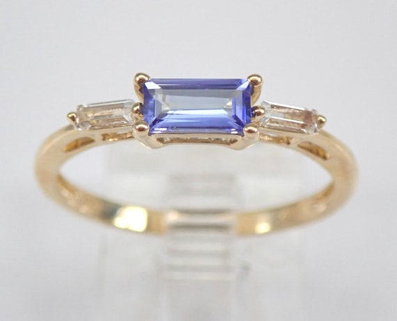 Yellow Gold Tanzanite and White Topaz Engagement Ring Size 6.75 Beautiful Design