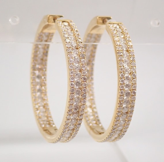 18K Yellow Gold 3.87 ct Diamond Hoop Earrings Large Diamond Hoops In and Out
