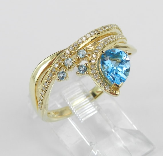 14K Yellow Gold Diamond and Pear Blue Topaz Right Hand Ring Size 7 December Gem FREE Sizing