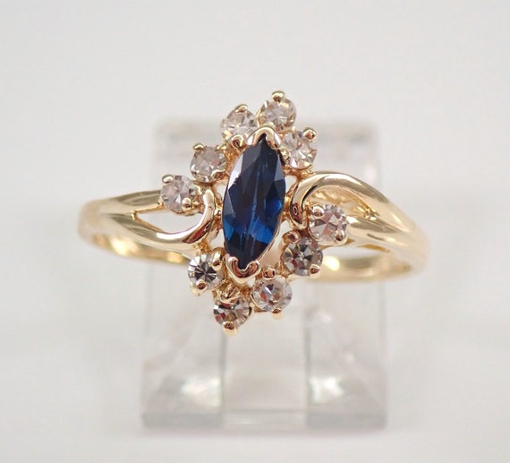 Vintage 14K Yellow Gold Diamond and Sapphire Ring Size 7 September Birthstone FREE Sizing