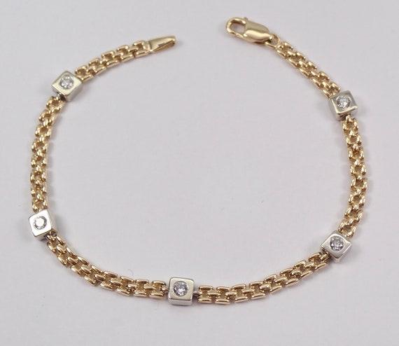 14K Yellow and White Gold Bezel Set Diamond Station Bracelet
