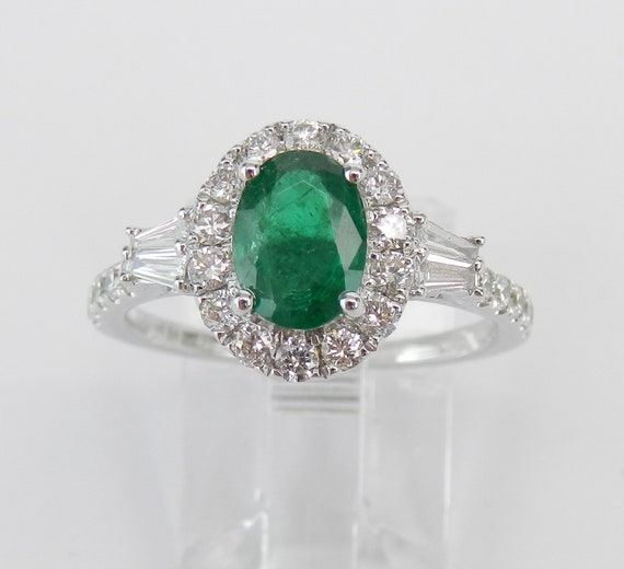 18K White Gold Emerald and Diamond Halo Engagement Ring Size 7 VIVID Green May Birthstone