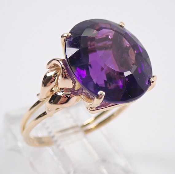 Antique Victorian 14K Yellow Gold 6.50 ct Amethyst Solitaire Engagement Ring Size 5.5