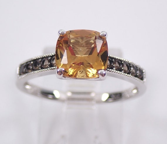 White Gold Cushion Cut Citrine Smokey Topaz Promise Engagement Ring Size 7.25
