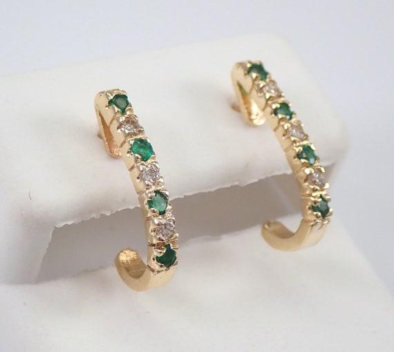 Emerald and Diamond J Hoop Earrings Half Hoops 14K Yellow Gold Graduation Gift