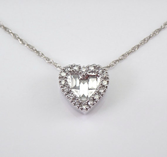 "White Gold Diamond Heart Pendant Necklace 18"" Chain Slide Wedding Gift Invisible Setting"